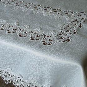 Tekstylia stołowe - Obrusy - Gipiurowe - Białe